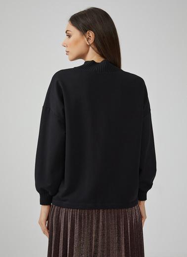 Gusto Kadın Kahve Yakası Ve Kolları Ribanalı Dik Yaka Sweatshirt 20KG009000 Siyah